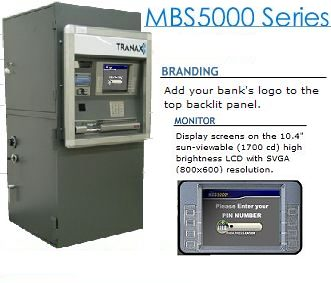 Tranax MBS5000 outdoor atm with deposit module